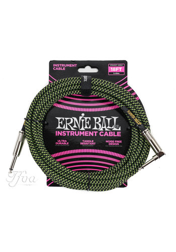 Ernie Ball Ernie Ball 6082 Guitar Cable Green-Black 5.49m