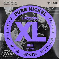 D'Addario EPN115 Pure Nickel Round Wound Electric Guitar Strings Jazz Rock 11-48
