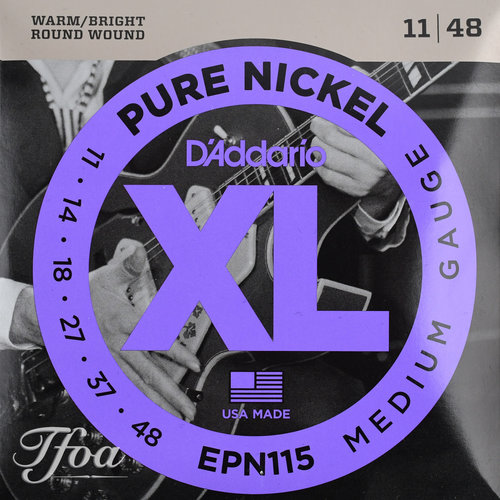 D'Addario D'Addario EPN115 Pure Nickel Round Wound Electric Guitar Strings Jazz Rock 11-48