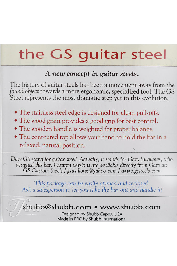 Shubb GS Guitar Steel Slide Fine Hardwood