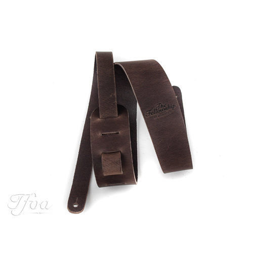 TFOA Leather Guitar Strap Dark Brown
