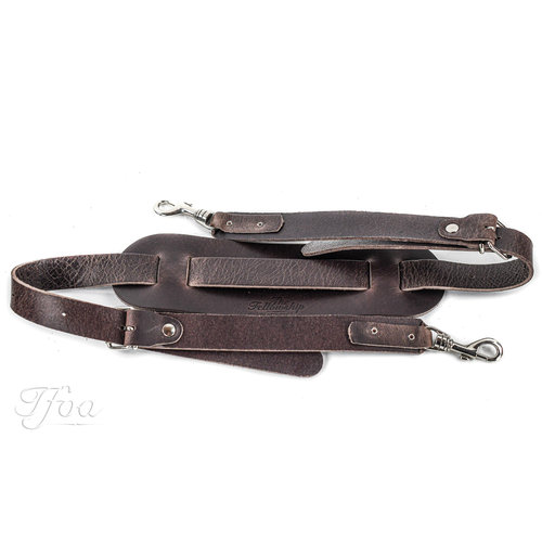 TFOA Leather Banjo Strap Dark Brown