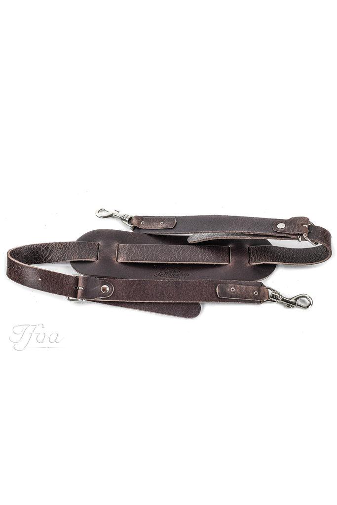 TFOA Leather Banjo Strap Dark Brown