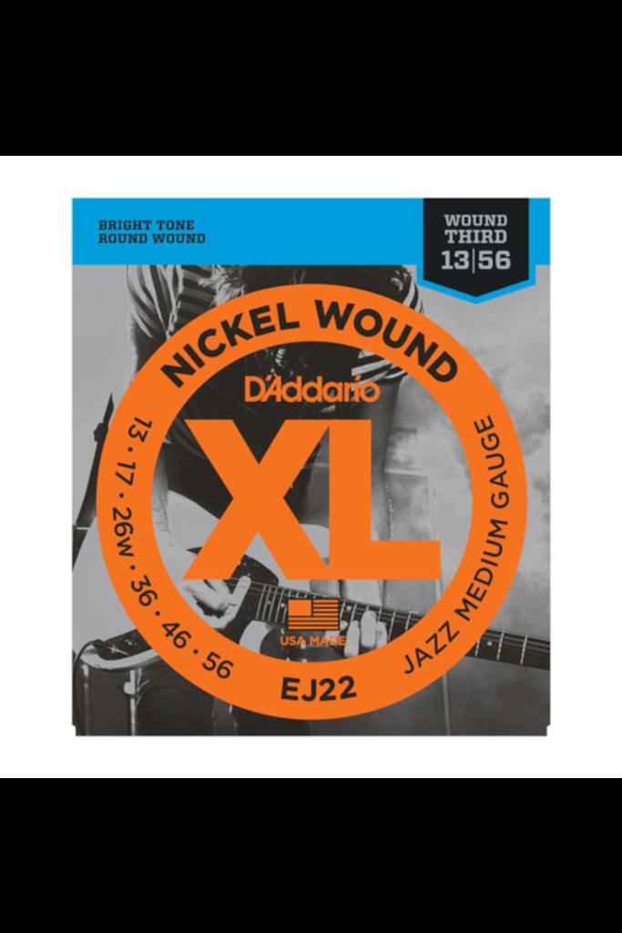 D'Addario EJ22 Nickel Woud Jazz Medium 13-56