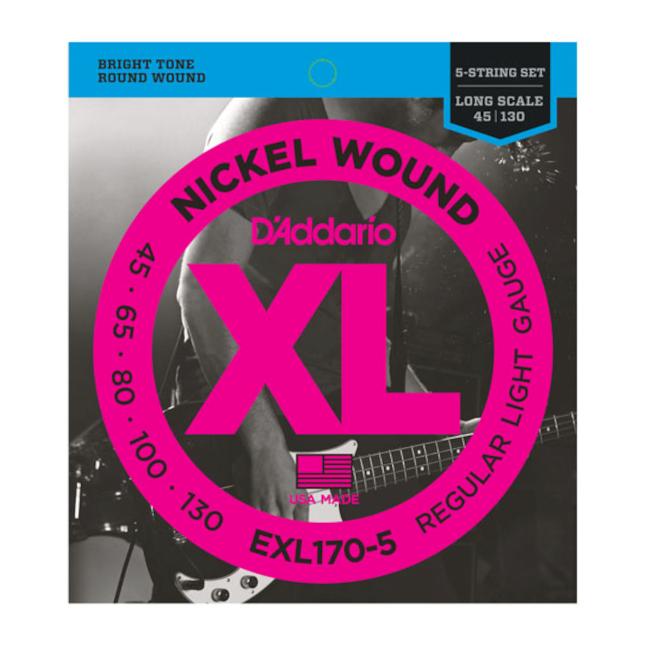 D'Addario EXL170-5 Nickel Wound 5 String Light 45-130
