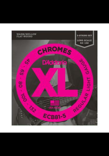 D'Addario D'Addario ECB81-5 Chromes Light 45-132 Flatwound