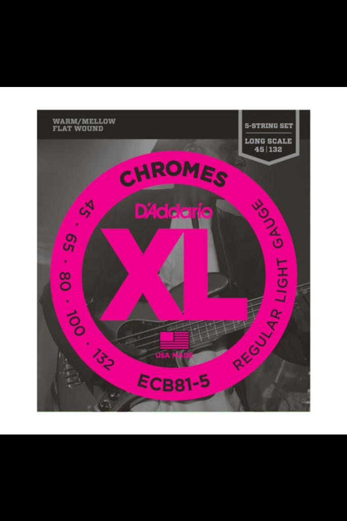D'Addario ECB81-5 Chromes Light 45-132 Flatwound