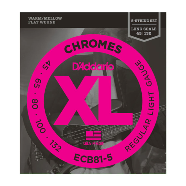 D'Addario ECB81-5 Chromes Light 45-132 Flatwound