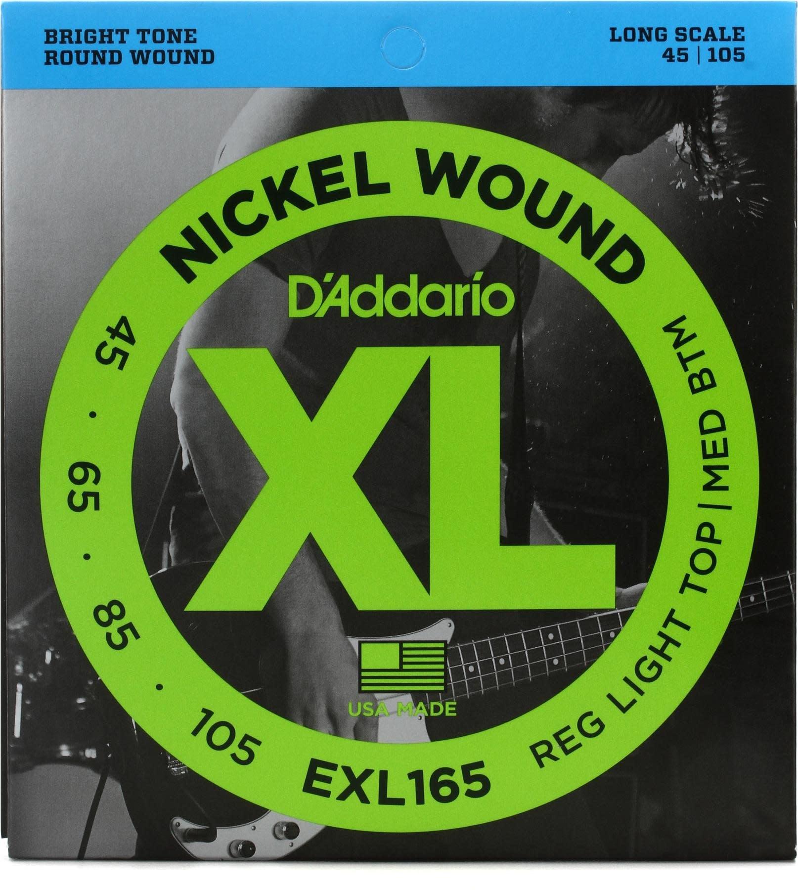 D'Addario EXL165 4-String Light Top Med Btm Long Scale 45-105