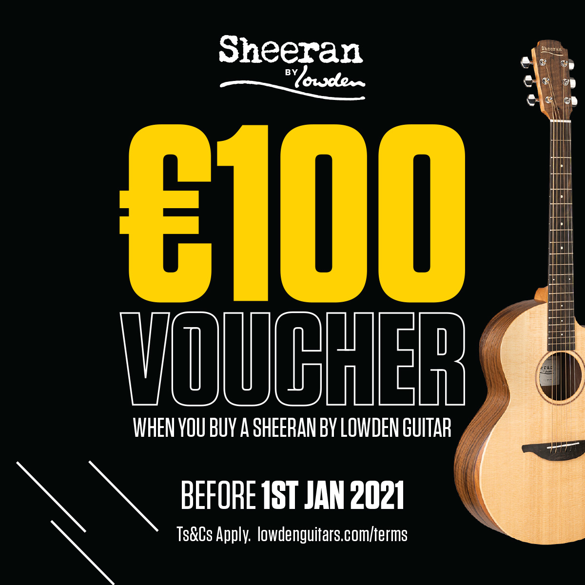 € 100, - Voucher with every Sheeran by Lowden Guitar!