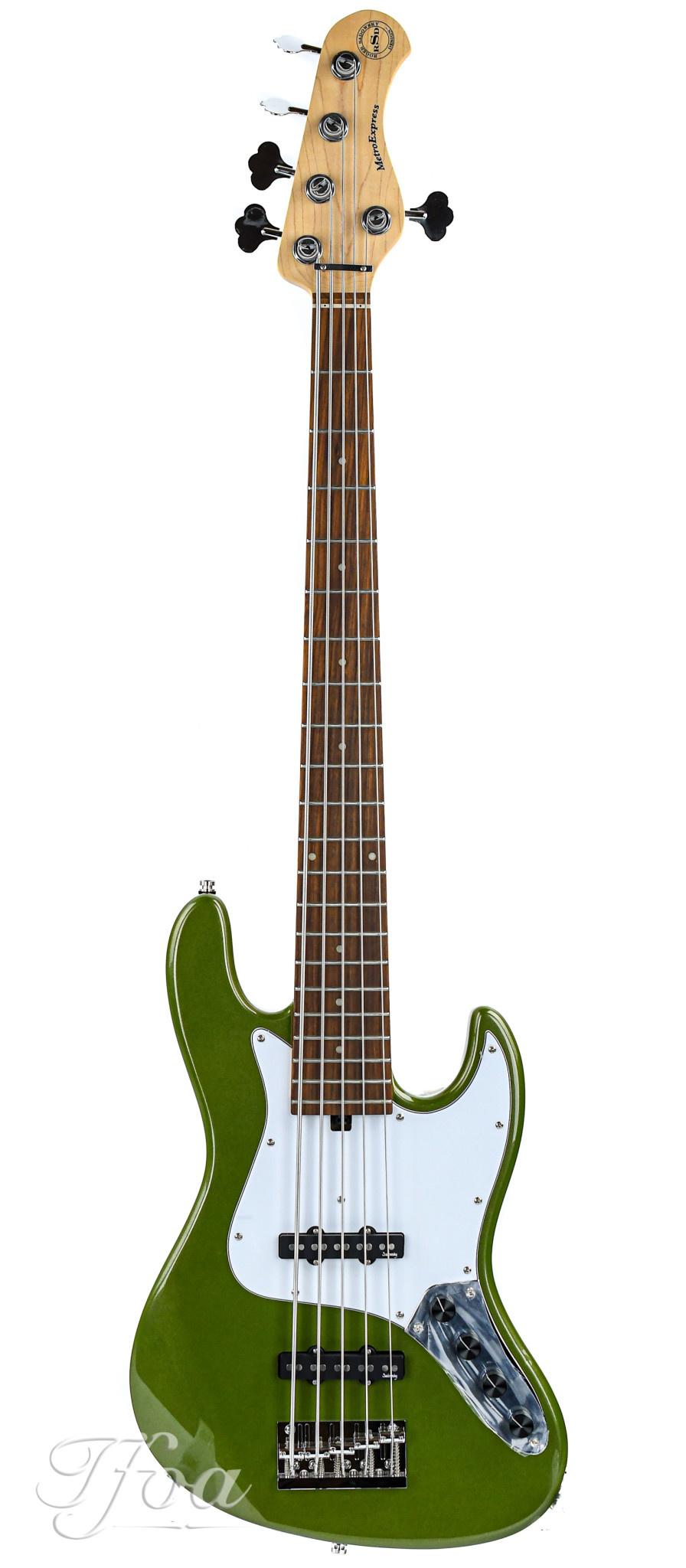 Sadowsky MetroExpress Vintage J/J Bass 5 String Morado Solid Sage Green Metallic
