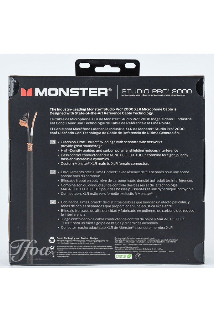 Monster Cable Studio Pro 2000 20 XLR 6.1m Microphone Cable