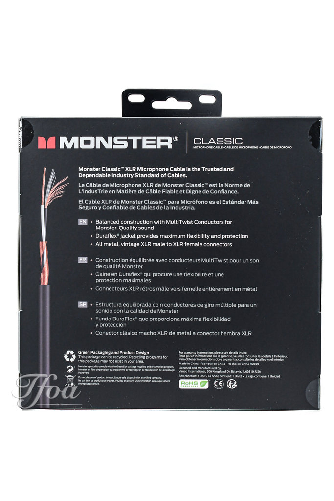 Monster Cable Classic XLR 20FT/6m Microphone Cable