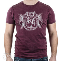 TFOA T-Shirt 'Life's Too Short' Whiskey Label Washed Burgundy