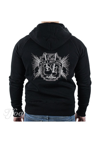 TFOA TFOA Zipped Hoodie 'Life's Too Short' Whiskey Label Black