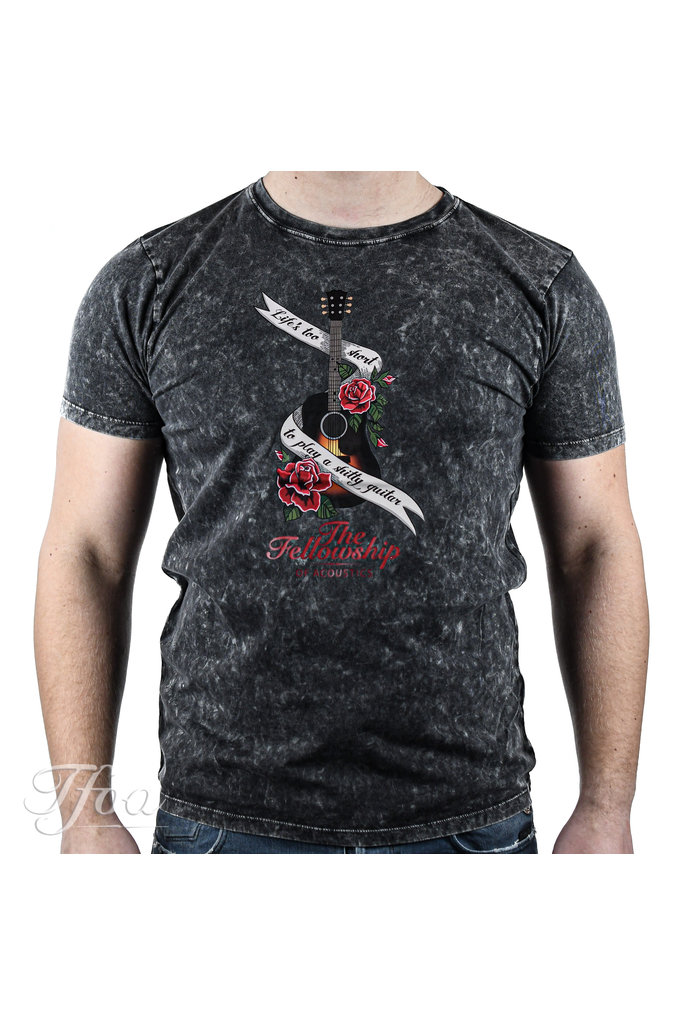 TFOA T-Shirt 'Life's Too Short' Banner N' Roses Acid Black