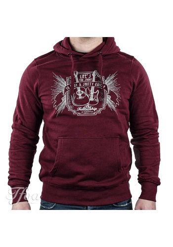 TFOA TFOA Hoodie 'Life's Too Short' Whiskey Label Burgundy