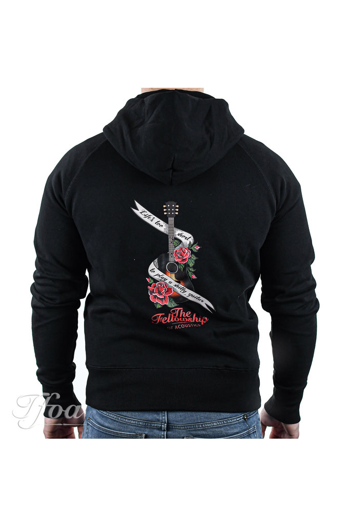TFOA Zipped Hoodie 'Life's Too Short' Banner N' Roses Black