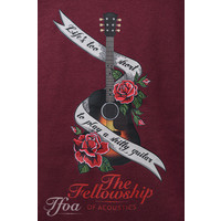 TFOA T-Shirt 'Life's Too Short' Banner N' Roses Washed Burgundy