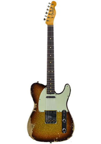 Fender Custom Fender Custom Shop 63 Tele Super Faded Aged 3 Tone Sparkle Heavy Relic