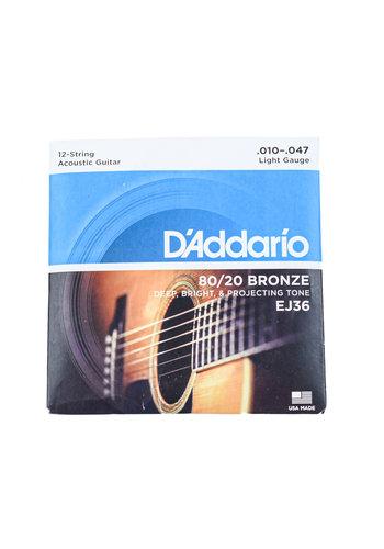 D'Addario D'Addario EJ36 80/20 12 String Bronze Light