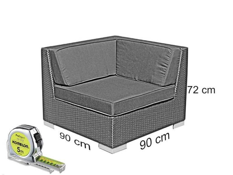 Loungeset Londen 3210 - Grijs geborsteld - Plat vlechtwerk