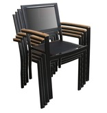 Stapelbare stoel Brighton zwart - 4 halen, 3 betalen