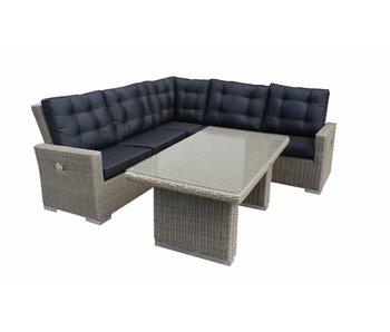 Loungeset for dining Freddo - Grijs - Rond vlechtwerk