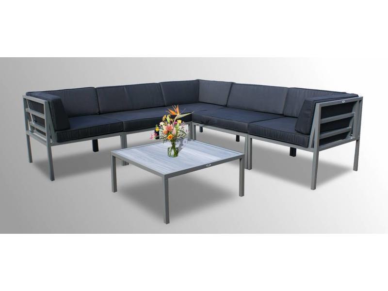 Loungeset Beverly - 6-delig - Grijs aluminium