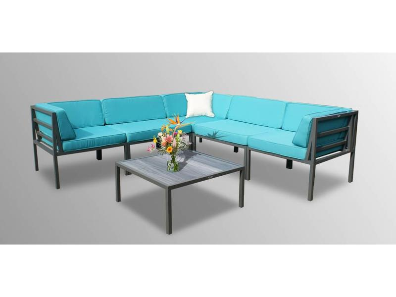 Loungeset Beverly - 6-delig - Grijs aluminium - Blauwe kussens