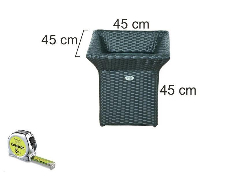 Bloembak Angelo - vierkant met rand - Zwart - Plat vlechtwerk - in meerdere  maten leverbaar