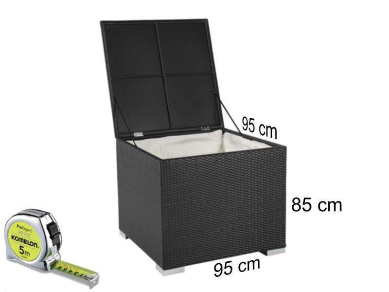 Kussen box II - Zwart - Plat vlechtwerk