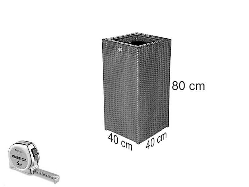 Bloembak Pilastro - hoog - Cappuccino - Plat vlechtwerk