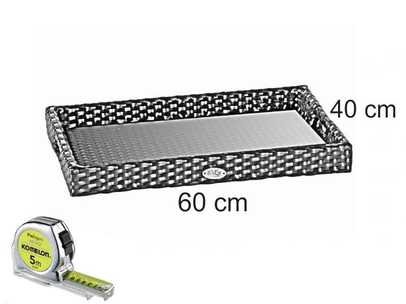 Dienblad rechthoek - incl. glasplaat - Cappuccino - Plat vlechtwerk
