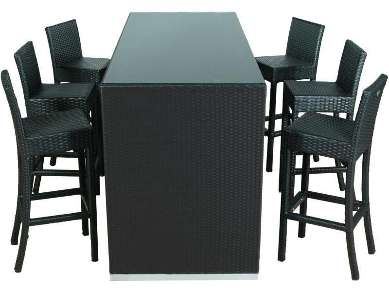 Bartafel Met 6 Barstoelen.Barset Athene Met Barkruk Sofia Ii Zwart Plat Vlechtwerk