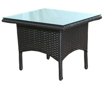Bijzet tafel Riga - Zwart - Plat vlechtwerk