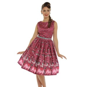 LINDY BOP -  'AUDREY' Purple Circus Swing Dress