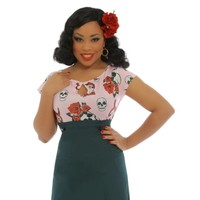 LINDY BOP - 'DIDO' Pink Rose and Skull Jersey Top