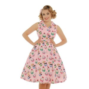 LINDY BOP -  'MATILDA' Pink Cupcakes Rockabilly Shirt Dress