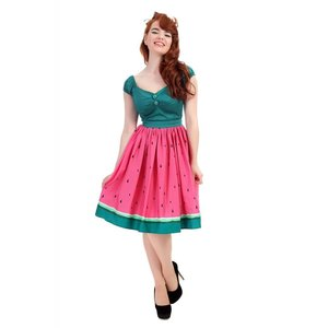 Collectif: Jasmine Swing Skirt 'WATERMELON'
