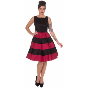 Dolly & Dotty: Anna  Dress in Black/Burgundy