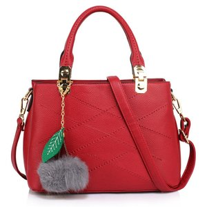 Burgundy Shoulder Bag with Charm