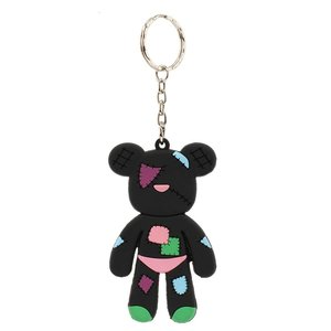 Black Patches Teddy Bear Bag Charm