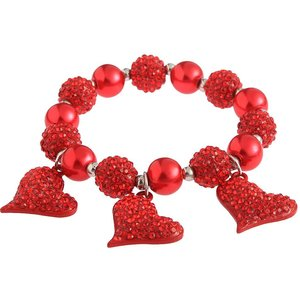 Crystal Bracelet With Heart Charms. Diverse kleuren.