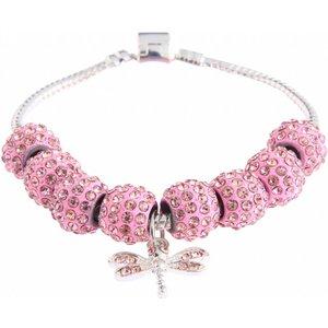 Crystal Bracelet with Dragonfly Charm. Diverse kleuren.