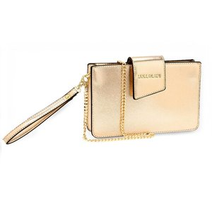 Gold Cross Body Shoulder Bag With Wristlet