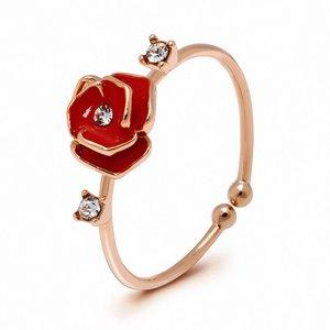 Gold Crystal Rose Adjustable Ring