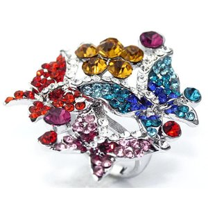 Multi-Coloured Butterfly Crystal Ring