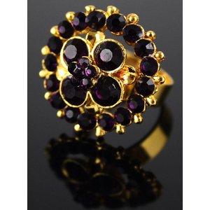 Purple Crystal Flower Ring