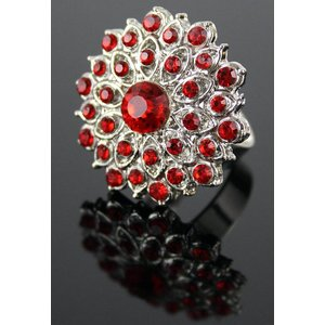 Red Crystal Cluster Ring